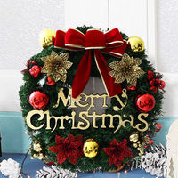 Mayitr Christmas Wreath Decoration Xmas Trees Hanging Ornaments Home Door Wall Garland Flower Bowknot Christmas Decor
