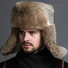 Naiveroo Male Men s Winter Warm Fur Bomber Hats Black Brown Solid Thicken Earflap Caps Leifeng