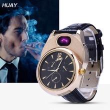 цена на Cigarette Lighter watch Men USB rechangeable Casual Quartz Watch fashion Arc Flameless Lighter Wristwatches clock JH338