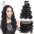 Malaysian Body Wave 3 Bundles With Lace Frontal Malaysian Virgin Hair Lace Frontal Closure 7A Unprocessed Virgin Hair Weave