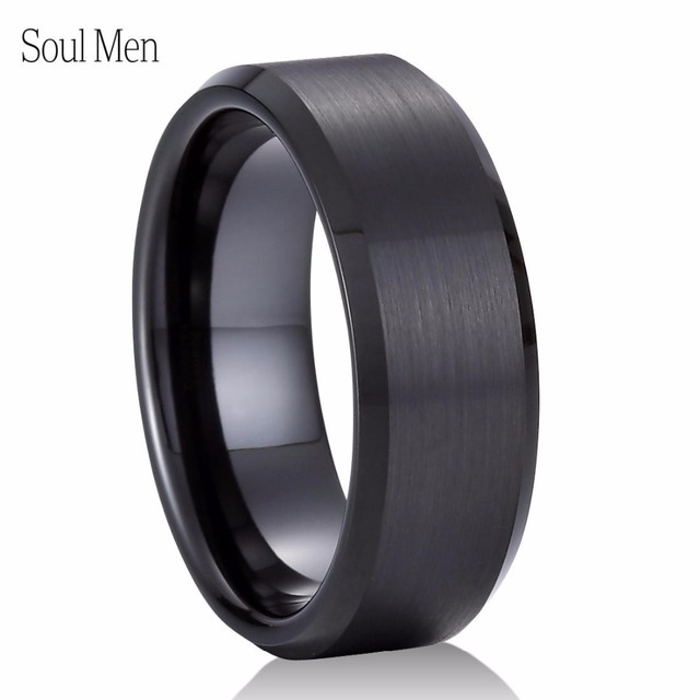 8mm Black Tungsten Carbide Wedding Ring Brushed Center Beveled Edges  Comfort Fit Menu0027s Classic Jewelry Size
