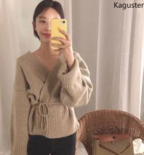 купить Kaguster Autumn Winter V-Neck Long Sleeve Knitted Slim Fit Bow Belt High waist Sweaters Cardigan Sexy Office lady Good quality по цене 1388.6 рублей