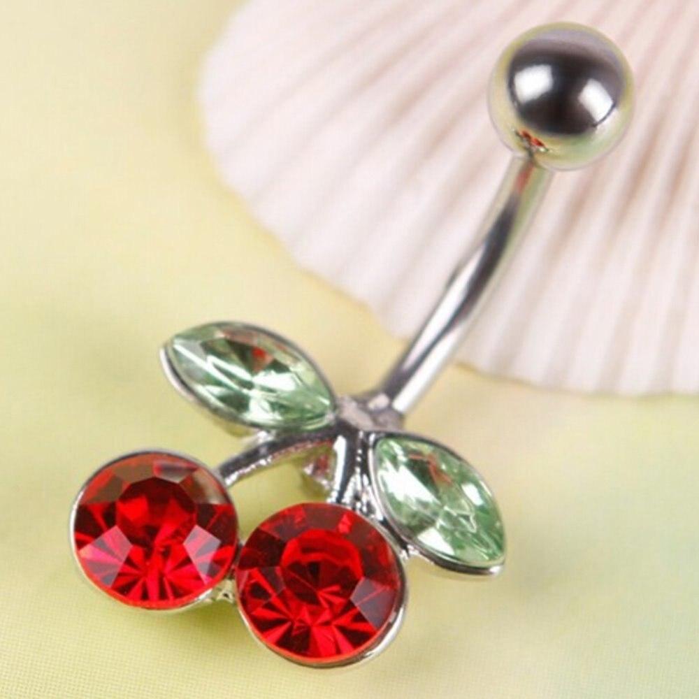 Full Crystal Skull Red Flower Belly Button Rings Navel Bar Body Piercing ma
