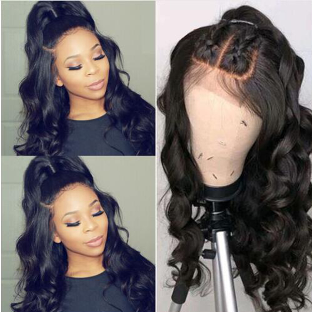 Simbeauty Full Lace Human Hair Wigs With Pre Plucked Hairline 4x4 Silk Top Lace Wig Base Body  Wavy Full Lace Wig Bleached Knots