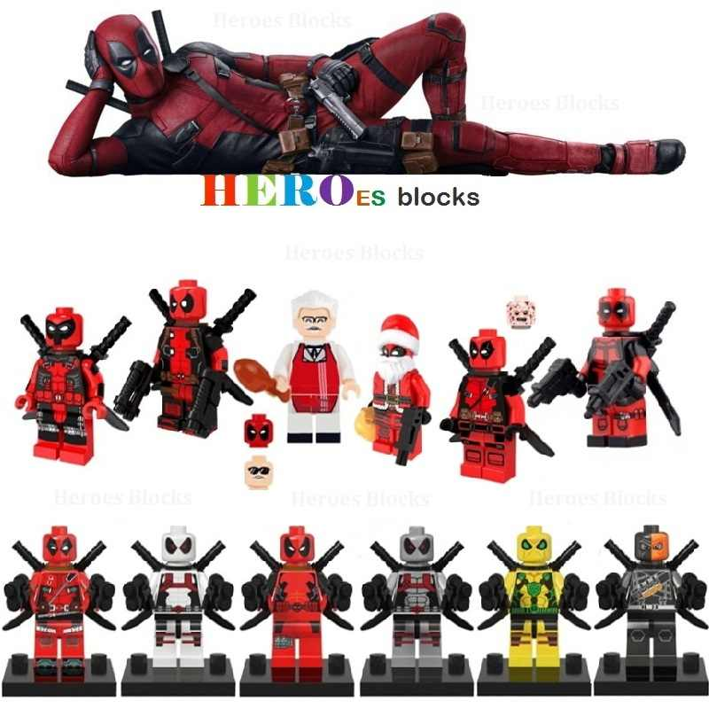 赤白武装 Deadpooles Deathstroke サンタクローススーパーヒーロー · ビルディング · ブロック図レンガ玩具キッドギフト互換 Legoed