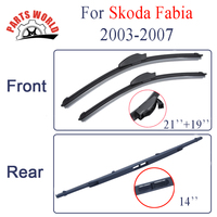 Combo Silicone Rubber Front And Rear Wiper Blades For Skoda Fabia 2003 2007 Windscreen Wipers Car