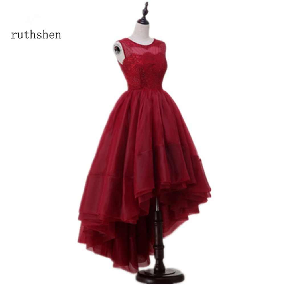 ed82ff1d6c7 prom dresses Burgundy Red High Low A Line Party Dresses Sleeveless Arabic  Dubai Short Front Long