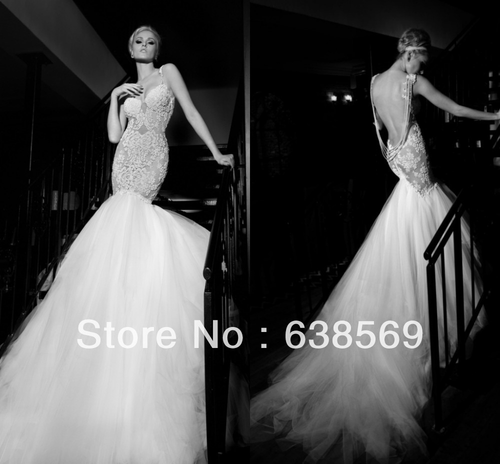 New wedding dress with long train fitting mermaid very for Very sexy wedding dresses