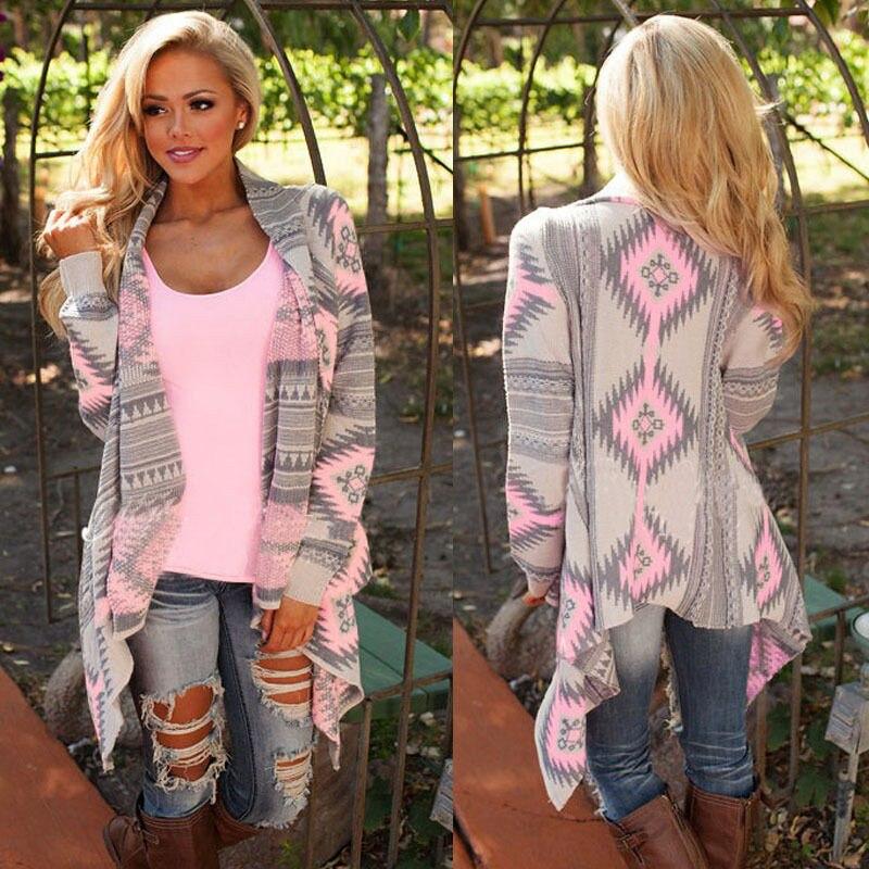 Rogi Cardigans Women 2018 Irregular Geometric Printed Cardigan Open Front Loose Aztec Sweaters Jumper Outwear Jackets Coat Tops 2