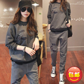 Fashion Maternity set plus warm velvet thickening comfortable clothing autumn winter casual sweatshirt trousers twinset