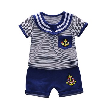 T-shirt Navy Wind Baby Boy Clothes Set Fashion Navy Wind Stripe T-shirt + Shorts Baby Clothes Summer Boy T-shirt Boys Clothing Sets