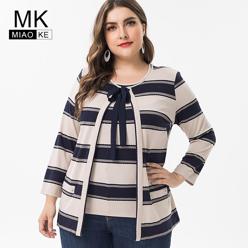 Miaoke 2019 Spring ladies Plus Size Elegant Cotton tops and blouses womens large size Vintage female