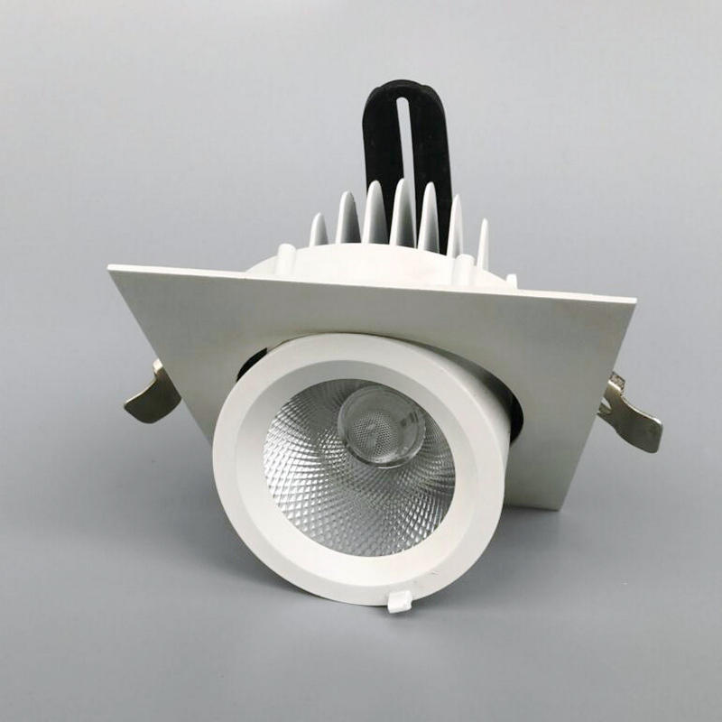 Faire pivoter 360 degrés dimmable COB LED plafonnier rond haut 10 W 20 W 30 W COB grille brossé blanc LED ronde plafond downligh