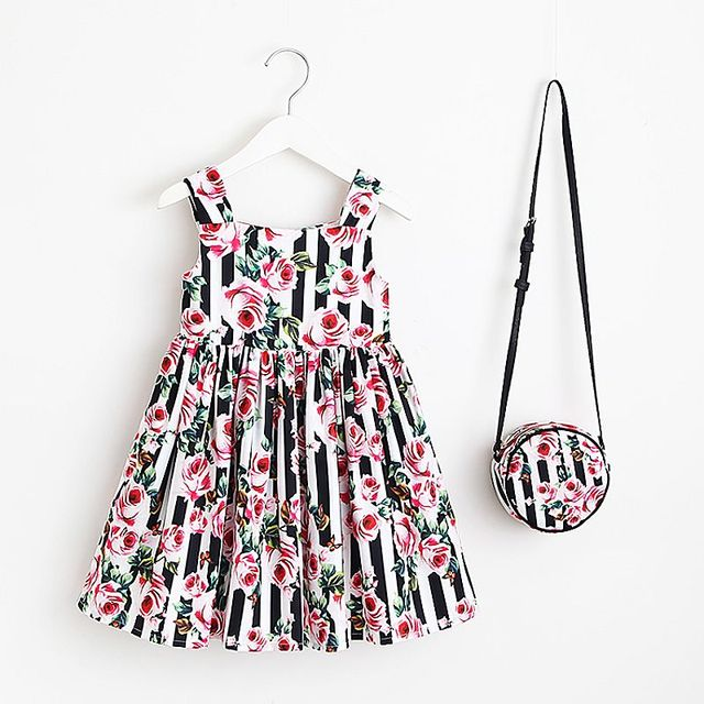 2a52bbccd Baby Girls Flower Dress with Bag 2018 Brand Girls Summer Dresses ...