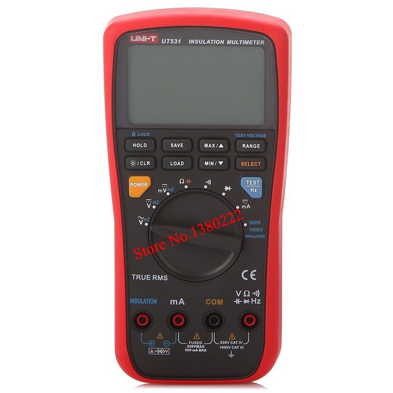 Digital Multitester UNI-T UT531 True RMS Auto Range 500-1000V Insulation Resistance Tester Multimeter  Capacitor 1 pcs mastech ms8269 digital auto ranging multimeter dmm test capacitance frequency worldwide store