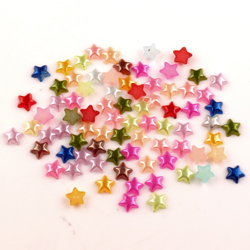 1000Pcs Mixed Stars Craft ABS Resin Half Pearls Flatback Cabochon Beads For Cloth Needlework DIY Scrapbooking Decoration(China)