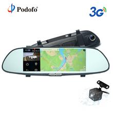 Podofo 3G Car DVR 7″ Android 5.0 GPS Registrar Navigation Video Recorder Bluetooth WIFI Dual Lens Camera Rearview Mirror Dashcam