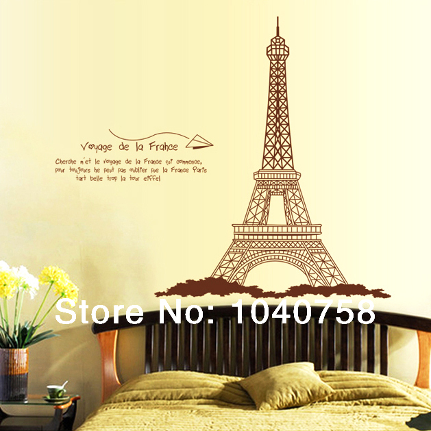 Aliexpress Com Buy Large Eiffel Tower Decoration Wall Stickers Home Decor Paris Poster Wall Decals Quotes Silhouette Wall Paper Art Photo Wallpaper From