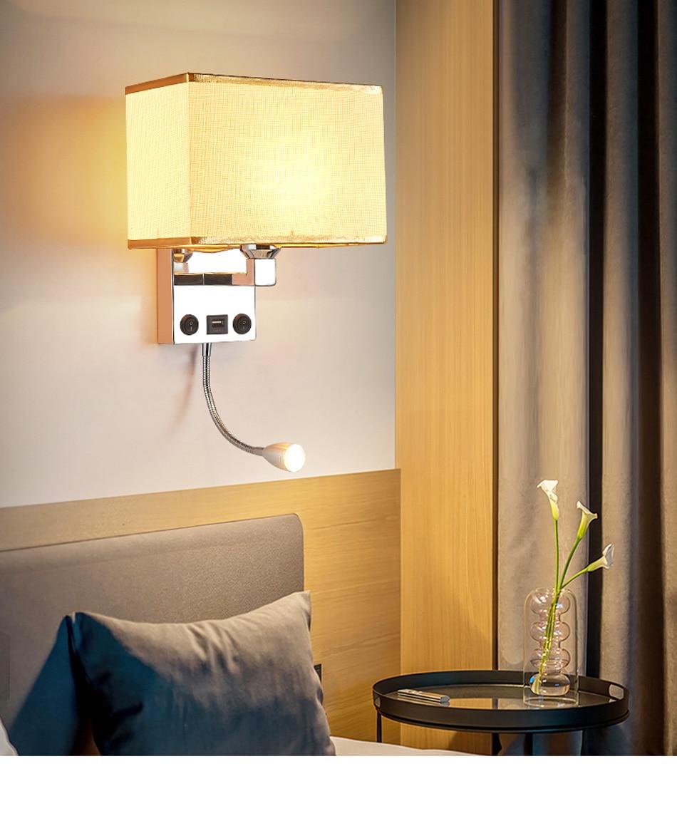 LED E27 Bulb Wall Light Modern Bedroom Bedside Hotel Living Room Wall Sconce Lighting 7W 85-265V Indoor Night Lighting Fixture (3)
