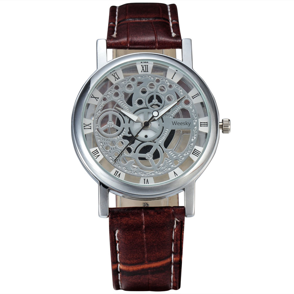 WEESKY Business Fashion Skeleton Watch Men Engraving Hollow Reloj Hombre Dress Wristwatch Leather Band Women Clock Relojes Mujer