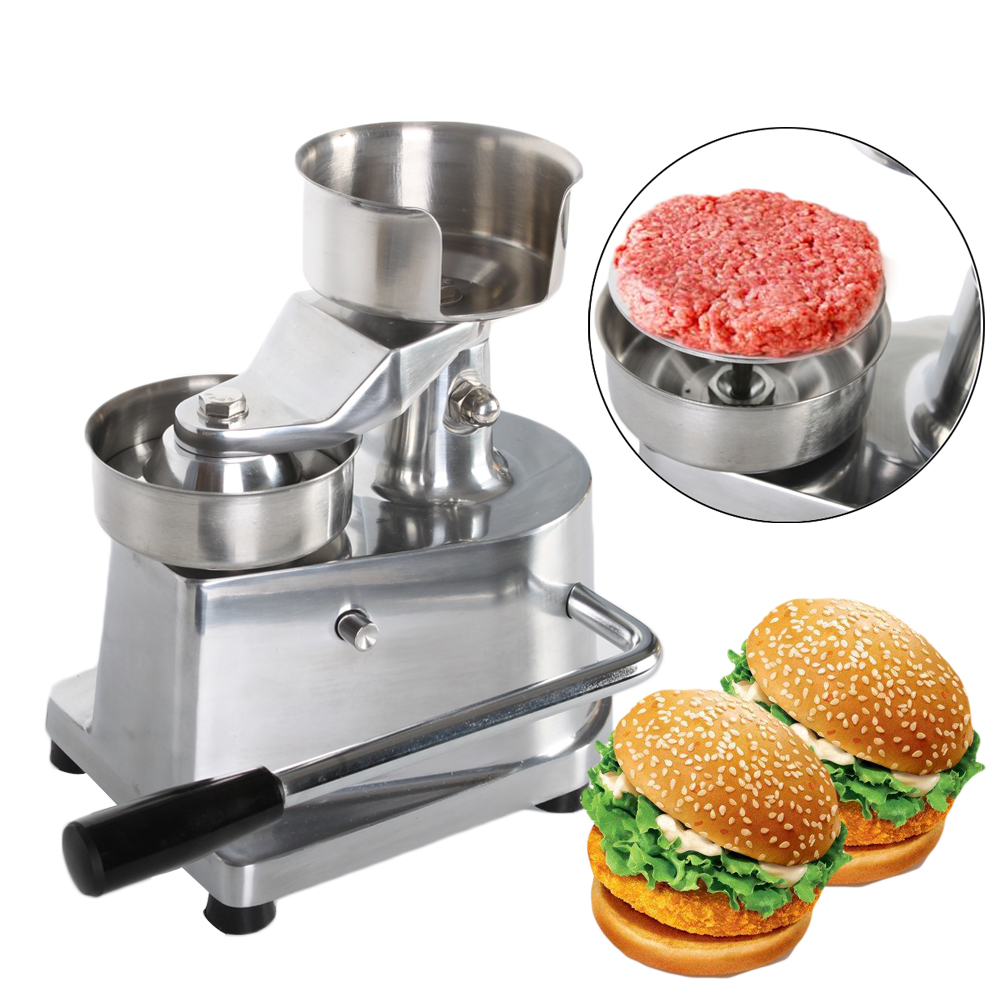Máquina de prensa de hamburguesas de 100mm 130mm Manual de prensa de hamburguesa que forma la máquina de aluminio de Panini de carne redonda máquina-in Procesadores de alimentos from Electrodomésticos    1