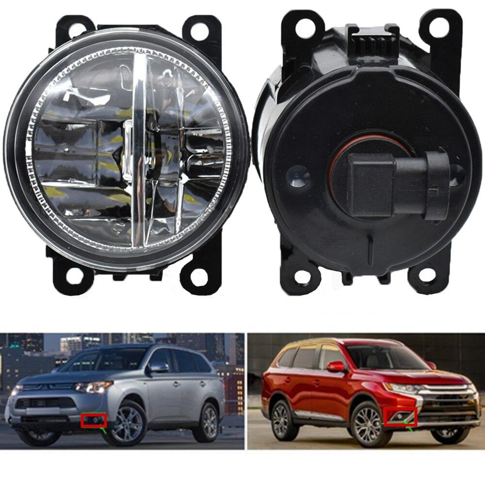 Pcs LED Faróis de Nevoeiro Dianteiros H11 2 Car Styling Rodada lâmpadas de Halogéneo de nevoeiro Bumper 12 v Para Mitsubishi Outlancer 12 -16