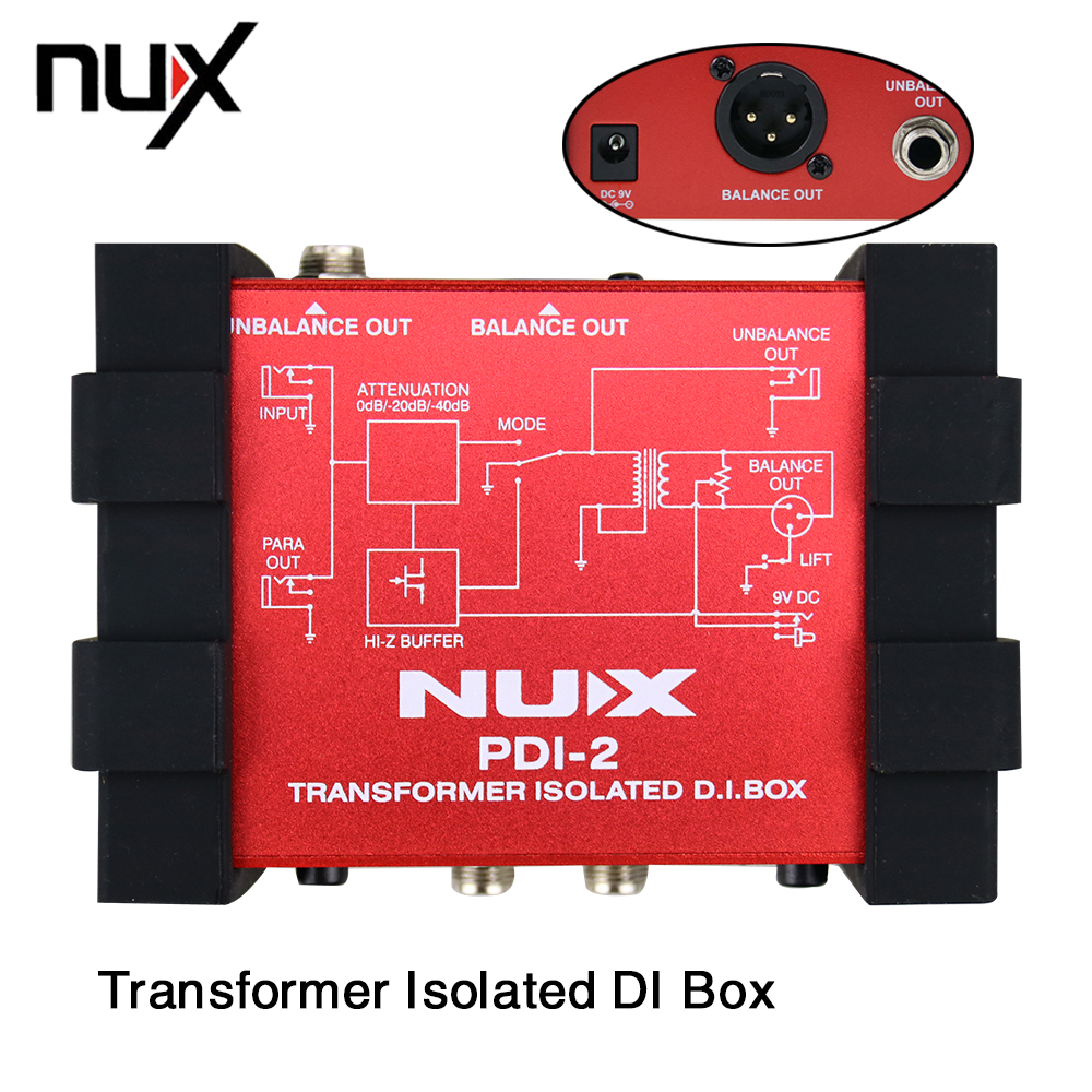 NUX PDI-2 Isolated DI Box Audio Box Electric Guitar Bass Direct Transformer With Switchable Ground Lift nux pmx 2 new multi channel line mixer overload indicator 8 in 2 out mixer fit several audio devices for electric guitar bass