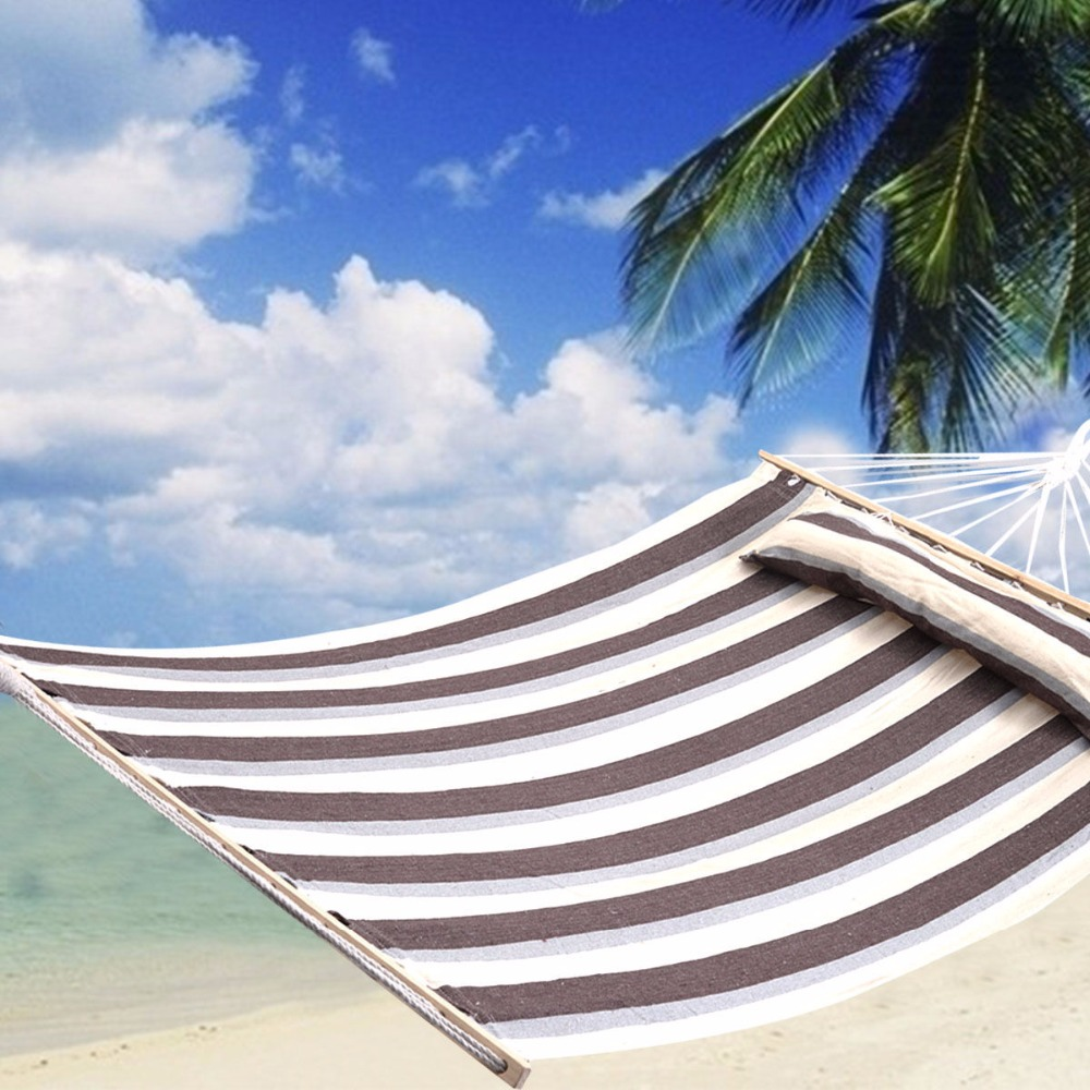 75 x55 Double Size Hammock Heavy Duty Wood Spreader Bar Polyester Cotton New OP2615