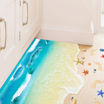 Creative Sandy Beach Floor Sticker Blue Ocean Wall Decals Bathroom Kids Room Kitchen Plaster Stickers Poster Mural In From Home