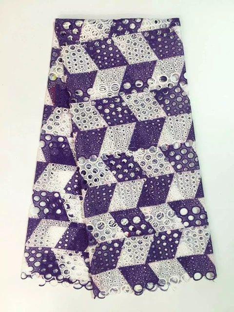 도매 아프리카 스위스 보일 레이스, 높은 품질 guipure 코드 레이스 원단 보라색 화이트 색상 5 야드/pcs 무료 배송. jy-6-14