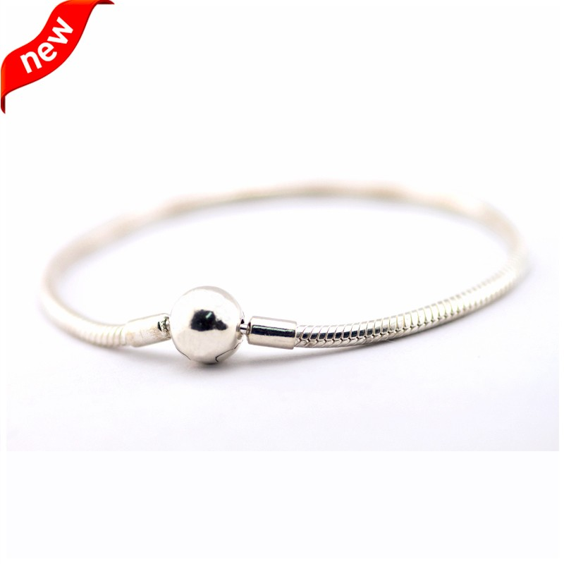 Snake Chain Bracelet with Round Clasp 925 Sterling Silver Jewelry Free ShippingSnake Chain Bracelet with Round Clasp 925 Sterling Silver Jewelry Free Shipping