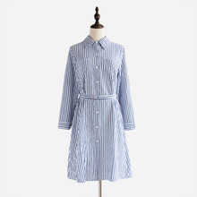2017 Spring Vintage Plus Size Long Sleeve Work Wear Office OL Striped Dresses Women Cotton Casual Shirt Dress D6D9270Y