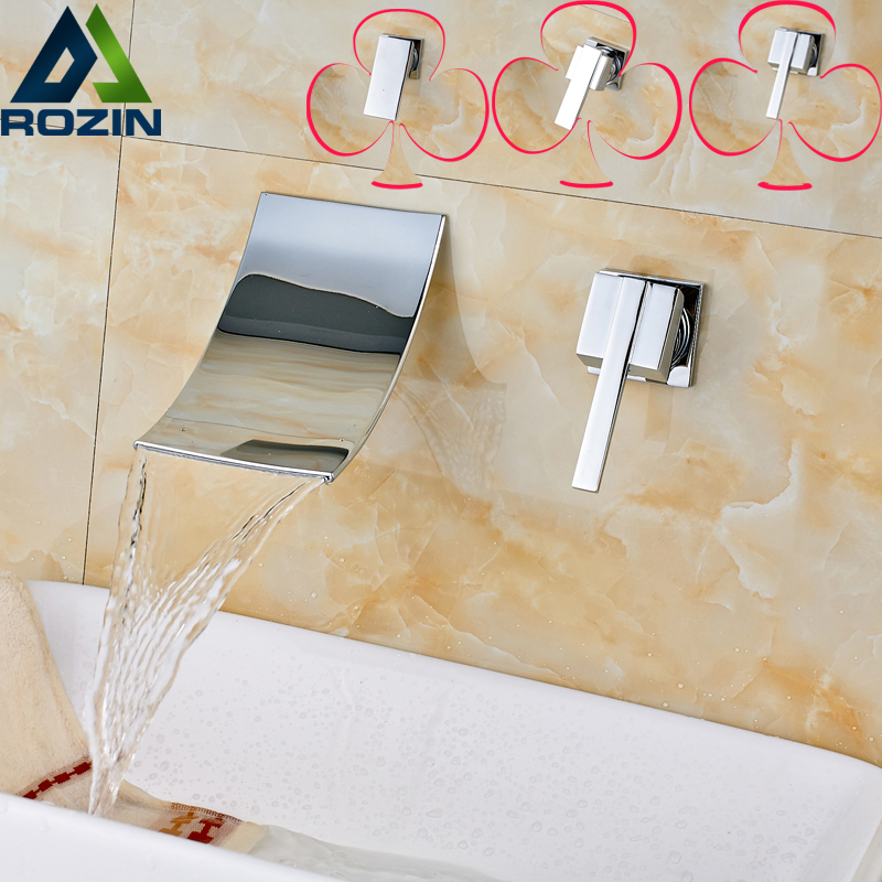 Luxury chrome finish In-wall Basin Sink Faucet Wall Mounted Single Handle Two Holes Hot and Cold Mixer Faucet us free shipping wholesale and retail chrome finish bathrom sink basin faucet mixer tap dusl handle three holes wall mounted