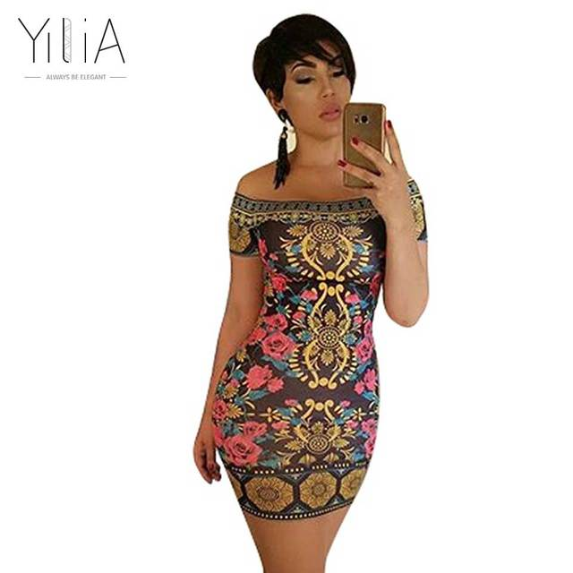 9b66933d6df Yilia Fashion African Print Women Dress 2018 New Summer Sexy Casual Off  Shoulder Short Sleeves Mini Beach Party Dresses Sundress