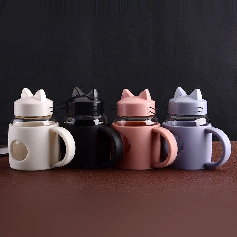 Creative Cartoon Cat Glass Water Bottles With Handle Single Layer Water Bottle High Temperature Children's Gift Drinkware