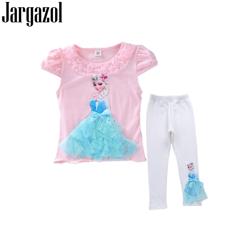 Jargazol Kids Clothing Set Icing Anna Sofia Princess Elsa 3D APPLIQUE Summer Shirt&pants Cute Outfits Funny Girls Clothes