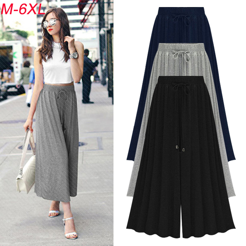 Summer Women   Wide     Leg     Pants   High Waist Loose Straight Nine   Pants   Womens Casual   Pants   Large Size 6XL Large Size 7300