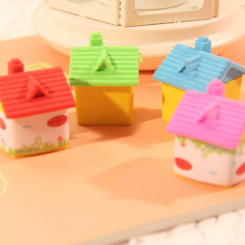 2 Pcs/lot Lovely  House  Rubber Eraser Creative Stationery School Supplies Papelaria Kids Gift Learning Supplies Reward