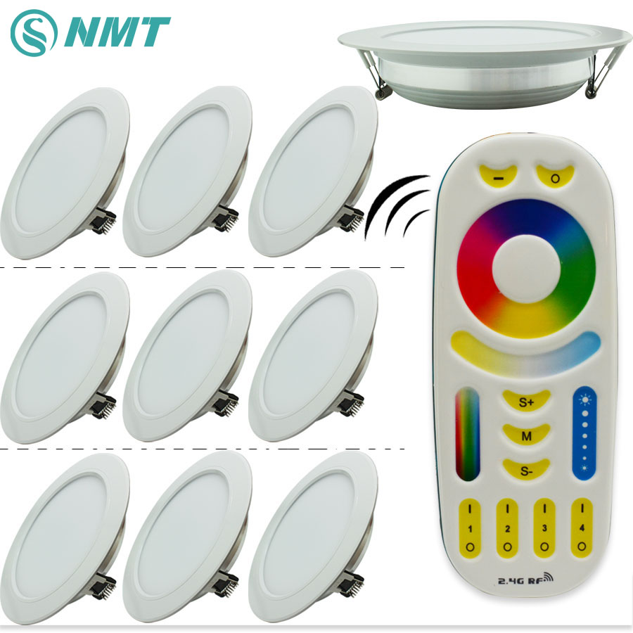 10pcs X 12W LED Downlight Dimmable Mi <font><b>light</b></font> 220V 240V RGB+CCT Indoor Bed Room Kitchen + 1 X 2.4G RF Wireless Remote Control