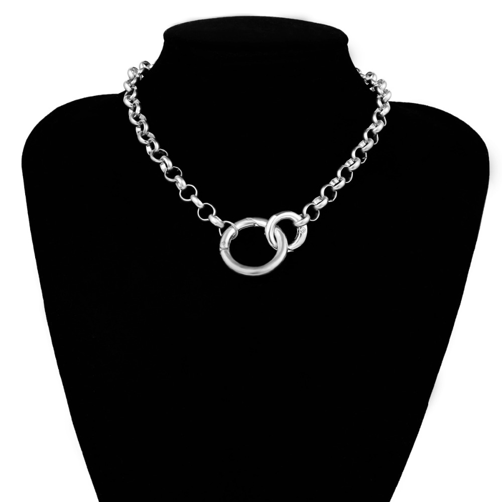 Ingemark Punk Miami Cuban Choker Necklace Hip Hop Jewelry 2019 Trendy Iron Thick Chain Circle Necklace Women Neck Accessories