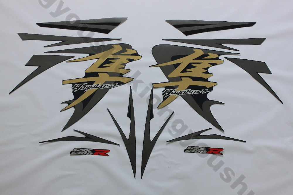 hot sale Motorcycle universal Decal full Sticker for Suzuki Hayabusagsxr 08 09 10 11 12 13 14 years sliver black car color