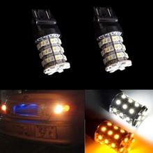 Car LED backup Bulb Turn signal Lamp 60-SMD 3157 3757 4114 4157 3156 Dual color White + Yellow Light 12V Auto Reversing Lights hj 3156 8w 600lm 6500k 8 smd 2323 led white steering reversing lamp bulb for car 12 24v 2pcs