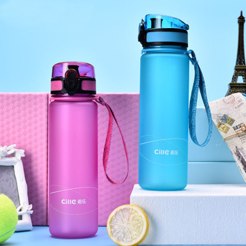 Cille BPA Free My Water Bottle Plastic Lemon juice Bicycle Sports Water bottle Travel Hiking Drinking Bottle Outdoor Drinkware