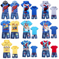 New Fashion 2014 Summer Boy's Tracksuit Spider Man Children Hoodies + Denim Shorts for Boys Casual Cotton Suit Boy Clothing Set