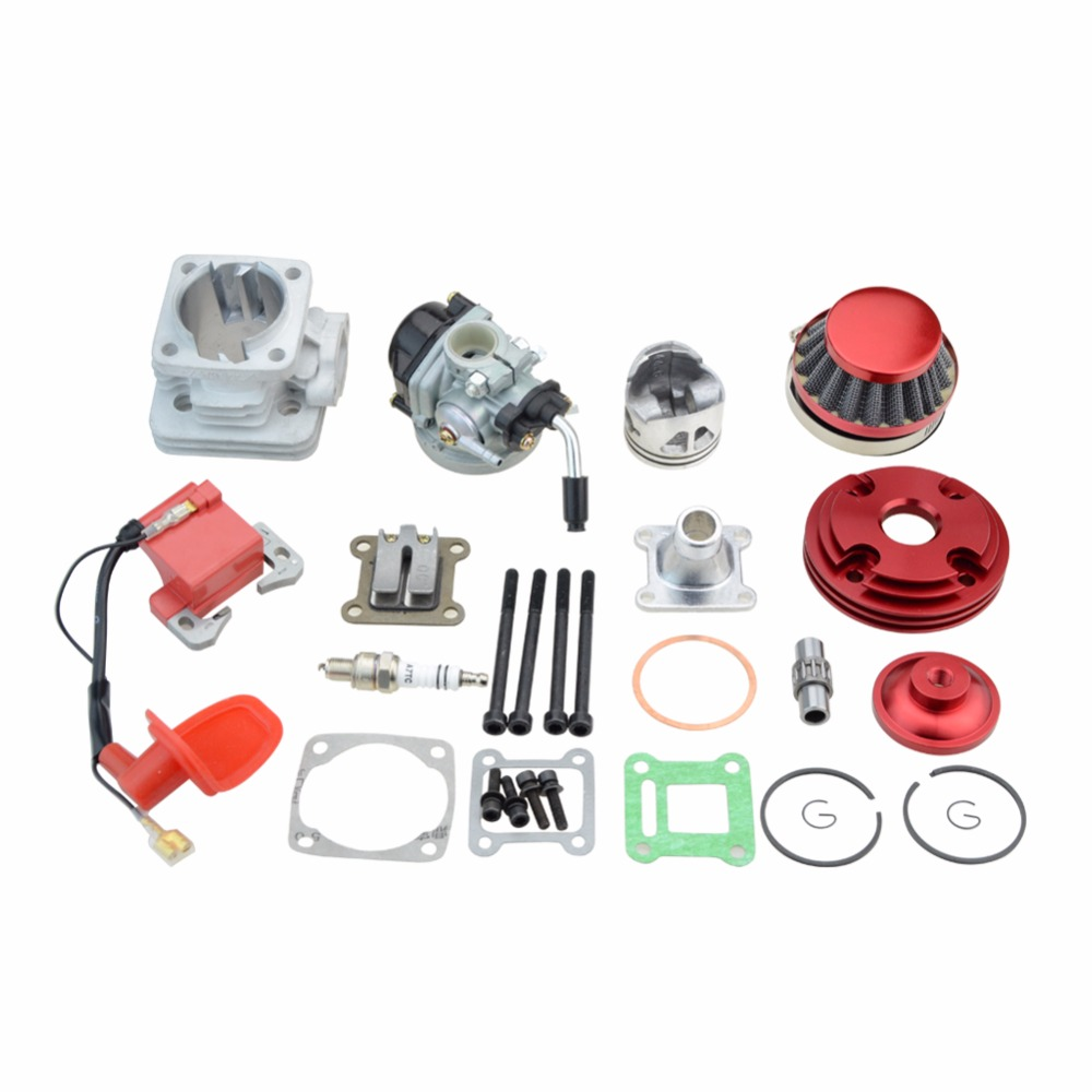 GOOFIT Cylinder Kit 19mm Carburetor Air Filter for 2 Stroke 47cc 49cc Pocket Bike Mini ATV