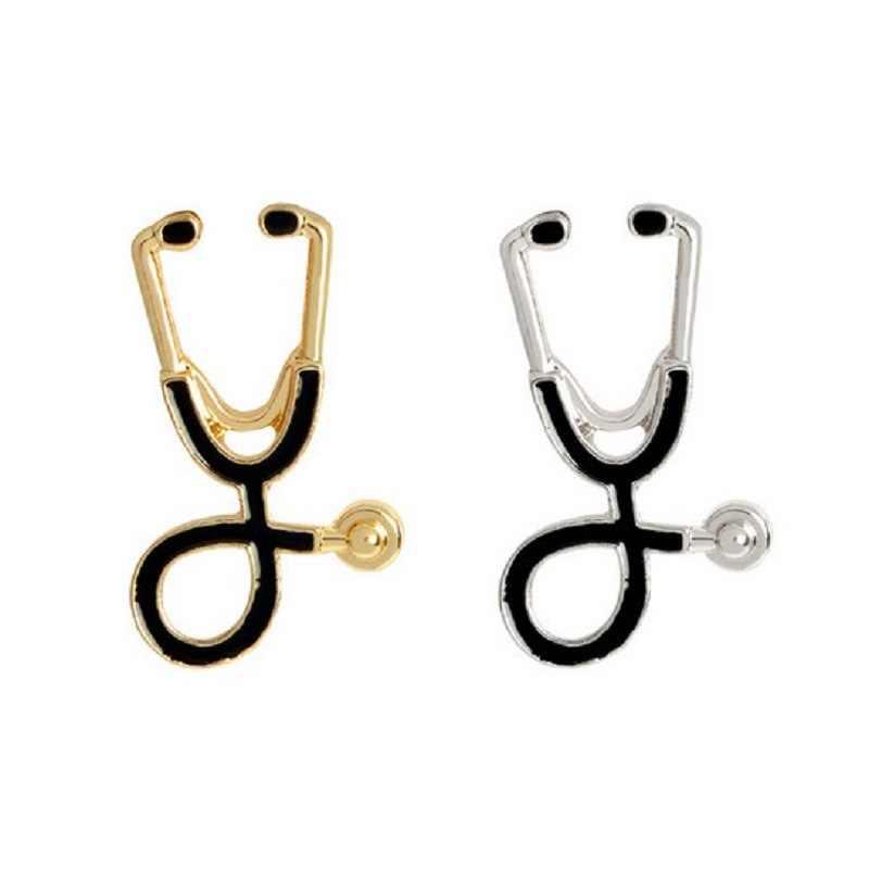 Di modo Medico Stetoscopio Dello Smalto Del Fumetto Spilla In Oro/argento Attrezzature Mediche Stetoscopio Spille Medico Infermiere Regalo Risvolto Spille