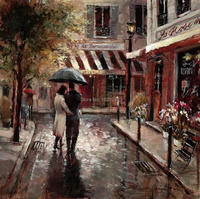 The Lovers oil painting of Brent Heighton High quality Reproduction art on canvas Hand painted Romantic Art Paris Landscape