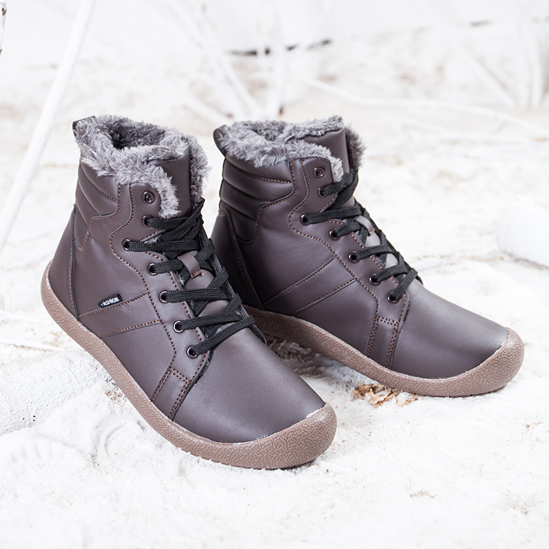 Men Big Size Winter Hiking Boots With Fur Unisex Warm Snow Walking Barefoot Shoes Male Waterproof