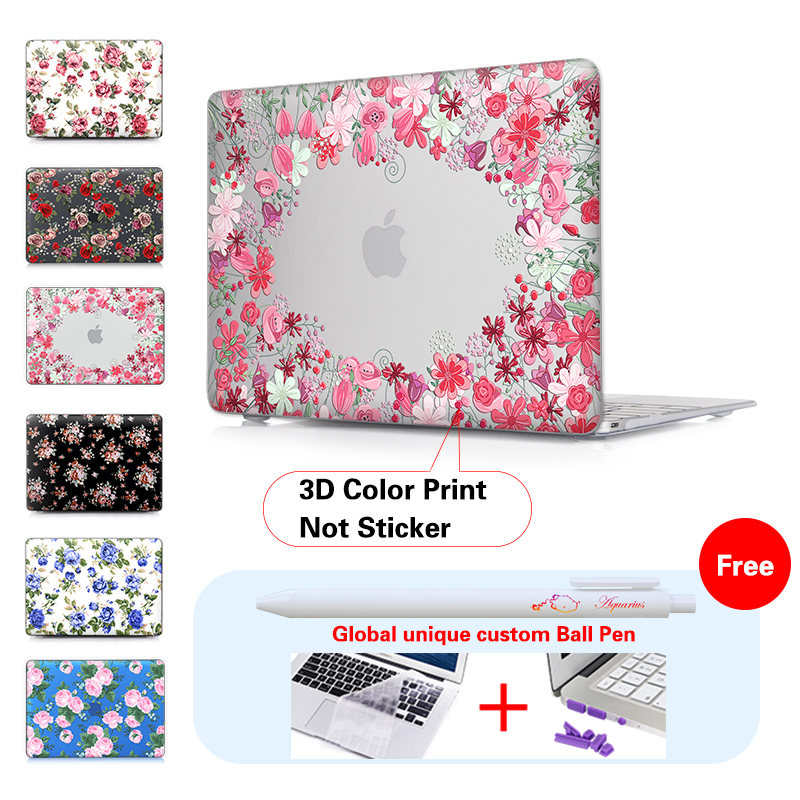 New Transparent Crystal Printed Colorful Rose Laptop Case For Macbook Air 11 12 13 Inch Pro Retina 133 154 Protector Cover Bag