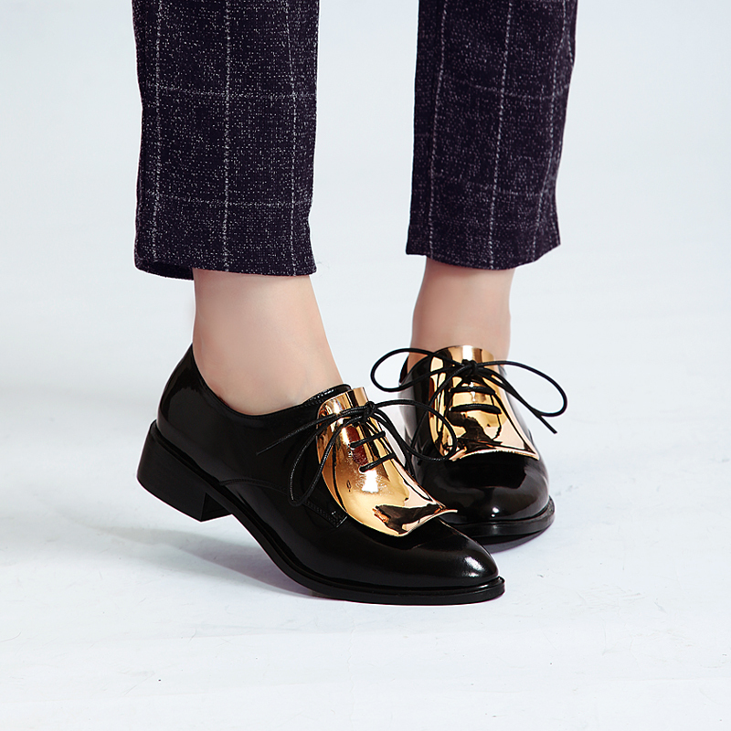 New Women Black Flat Shoe Sheet Metal Lace Up Pointed Toe Genuine Leather Coat Of Paint Fashion ...